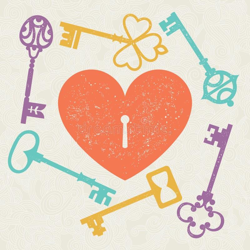 Heart_key 向量例证