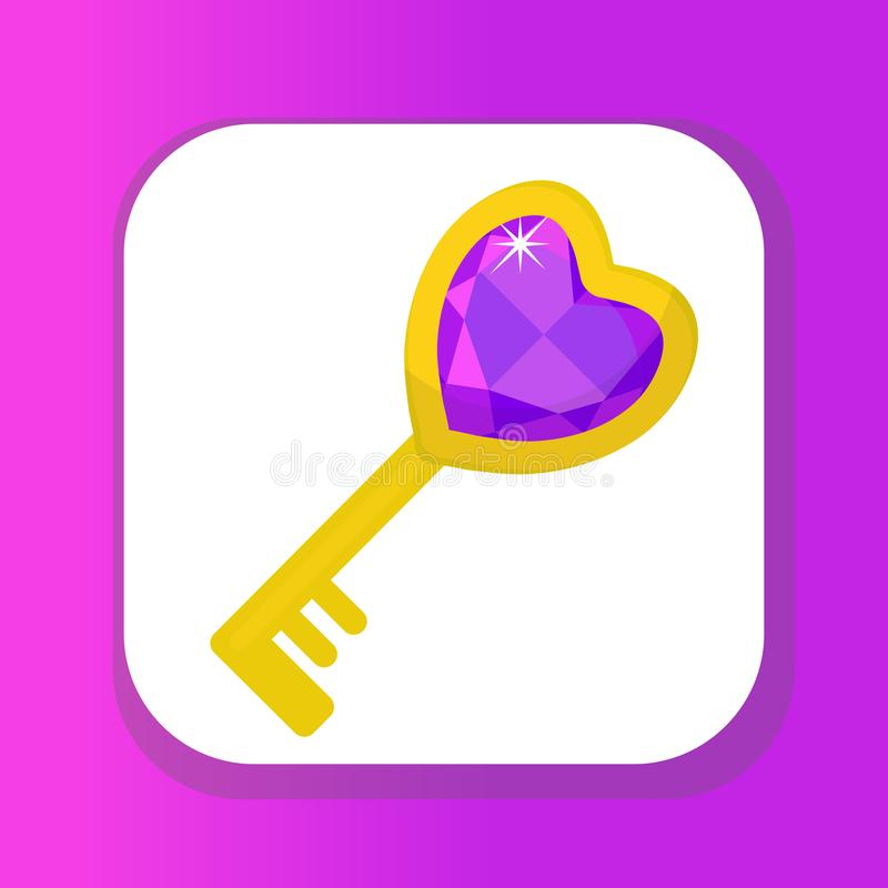 Heart key icon, flat design. Valentines Day, love, dating, wedding concept. Isolated on white background. Vector stock illustration