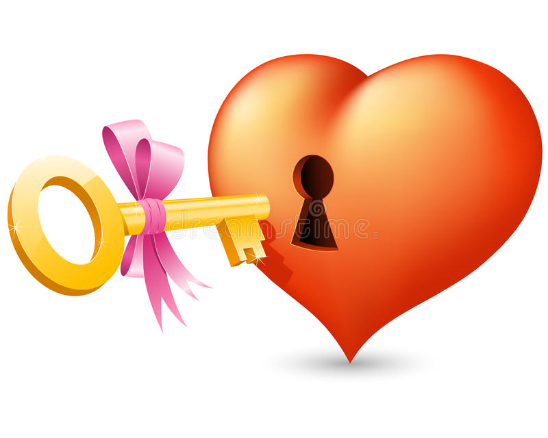 Heart With Keyhole And Key Royalty Free Stock Photo