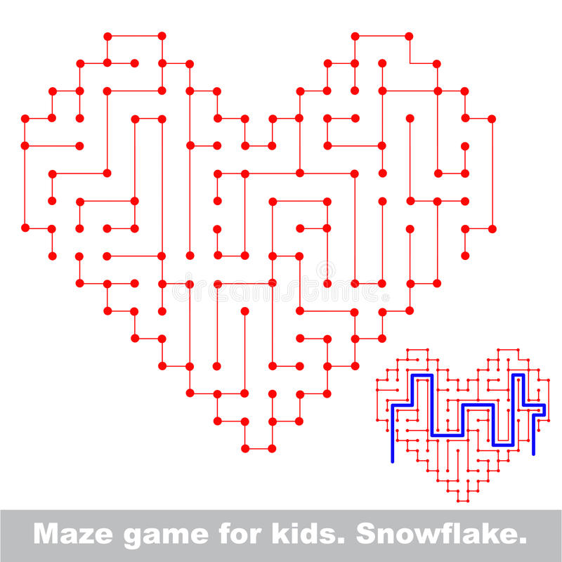 Heart kid maze game. Search the way. vector illustration