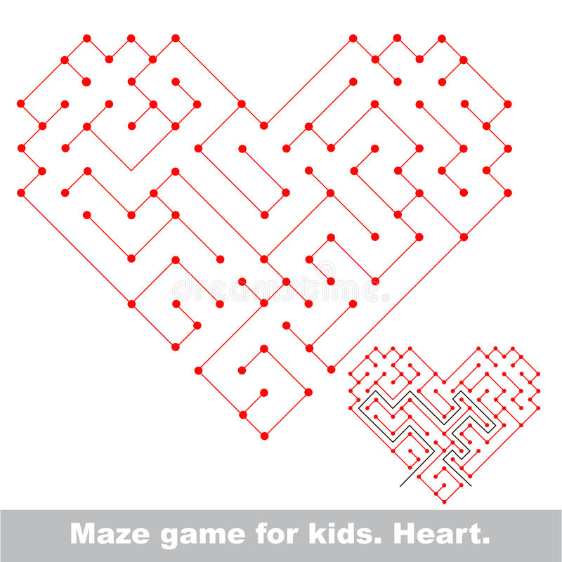 Heart - kid maze game. Search the way. royalty free illustration