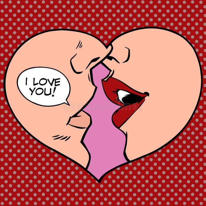 Heart kiss I love you royalty free illustration
