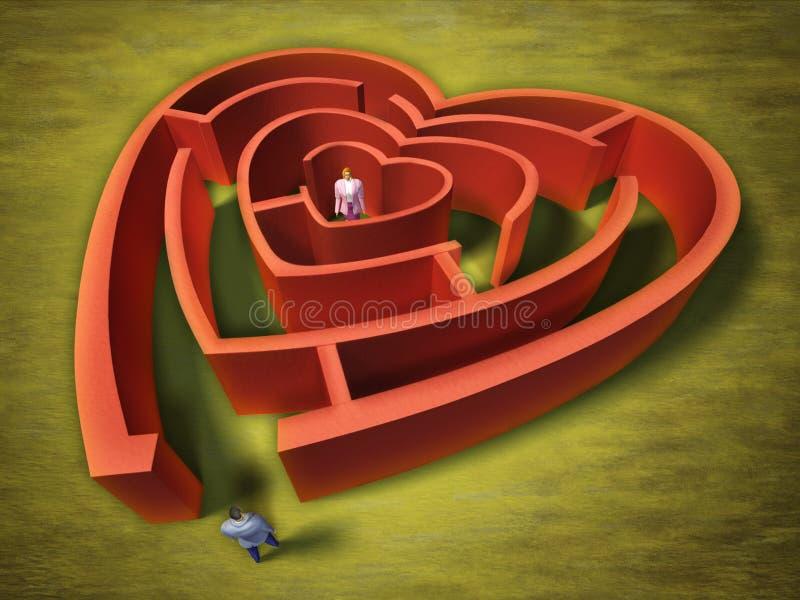 Heart labyrinth stock illustration