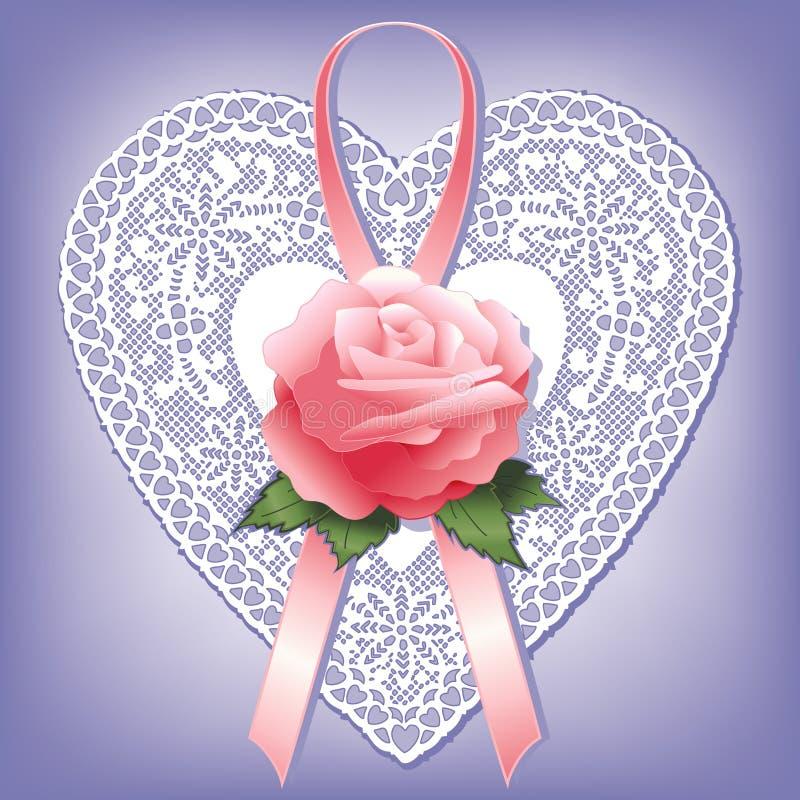 heart lace rose vintage иллюстрация вектора