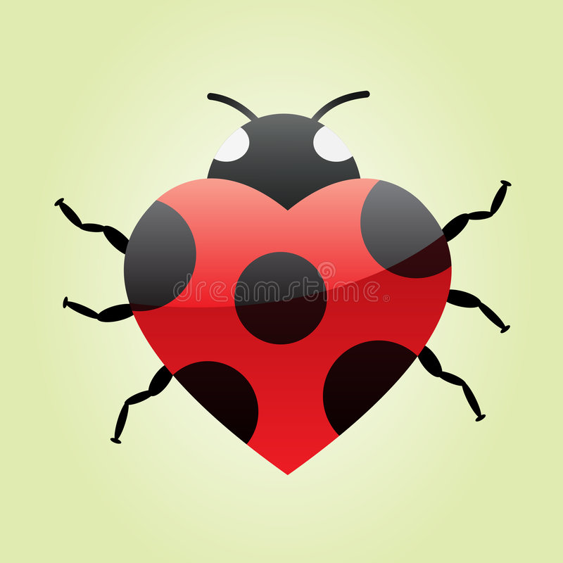 Heart ladybug vector illustration