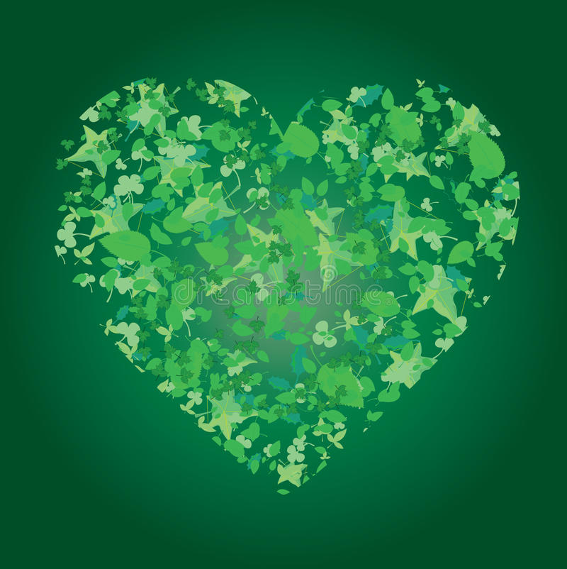 Heart from leaves on green background royalty free stock image
