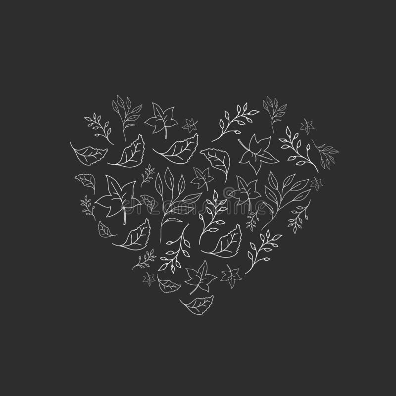 The heart of the leaves. Vector drawing in the style of doodle. Autumn frame design vector illustration