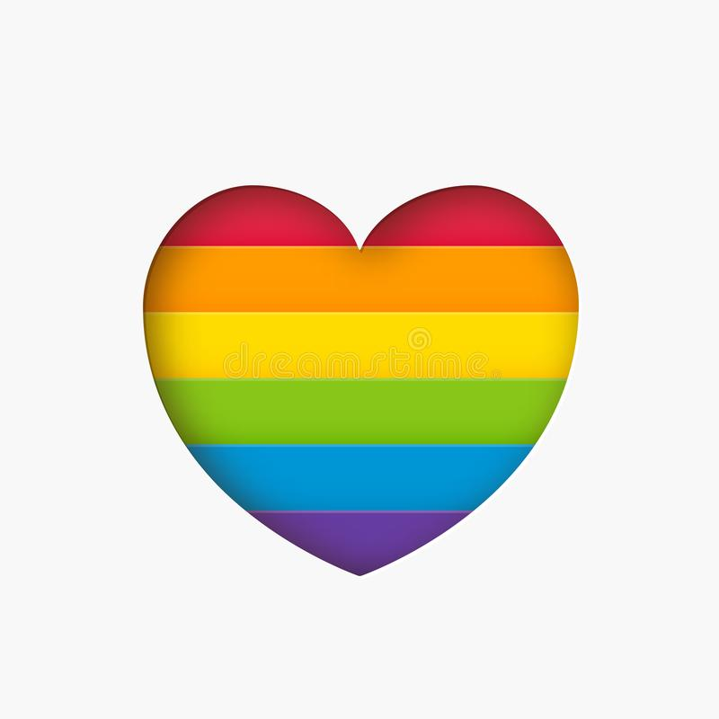 Heart lgbt sign rainbow color stripe. Pride flag Paper cut heart shape Concept love symbol. Vector stock illustration