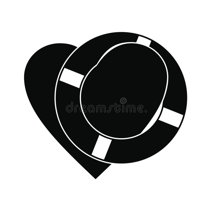 Heart with lifeline black simple icon. For web and mobile devices vector illustration