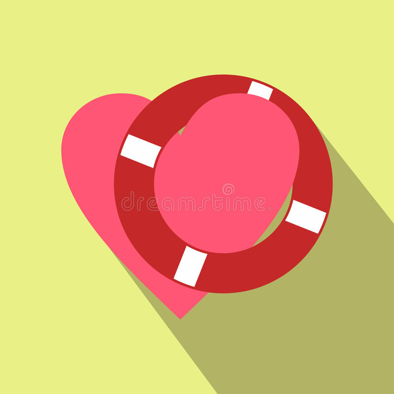 Heart with lifeline flat icon. For web and mobile devices royalty free illustration