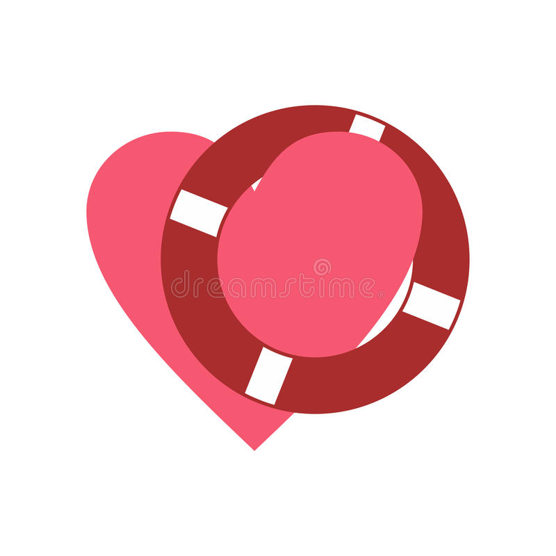 Heart with lifeline flat icon. On white background royalty free illustration