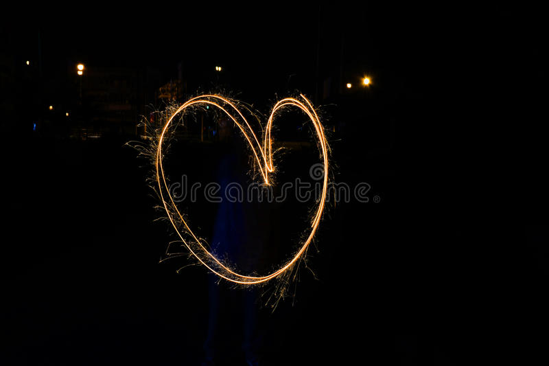 Heart, light painting stock photography