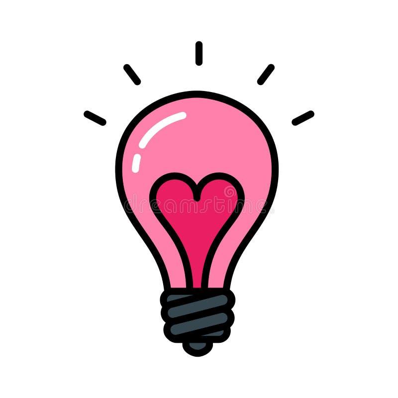 Heart lightbulb isolated black outline icon love concept stock illustration