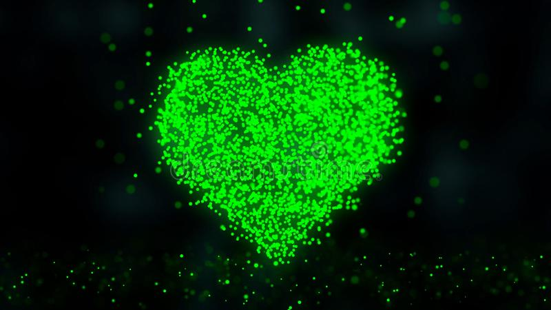 Heart like love romance icon. Animation of plexus network from heart symbol on colorful background with flowing of. Plexus particles royalty free illustration