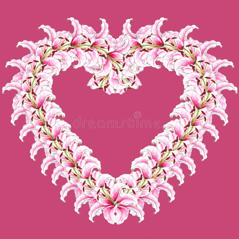 Heart of lily flowers. Floral background. Lilies. Flower pattern. Isolated on rose background royalty free stock photo