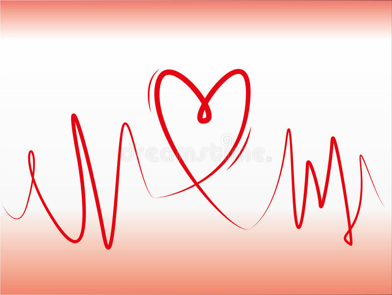 Heart line concept. Red lines forming to make a heart stock illustration