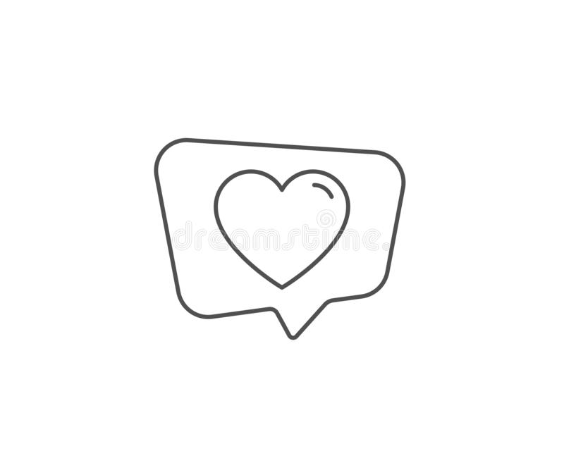 Heart line icon. Love sign. Vector. Heart line icon. Chat bubble design. Love sign. Valentines Day sign symbol. Outline concept. Thin line heart icon. Vector stock illustration