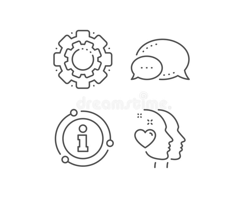 Heart line icon. Couple love emotion sign. Vector. Heart line icon. Chat bubble, info sign elements. Couple love emotion sign. Valentine day symbol. Linear heart stock illustration