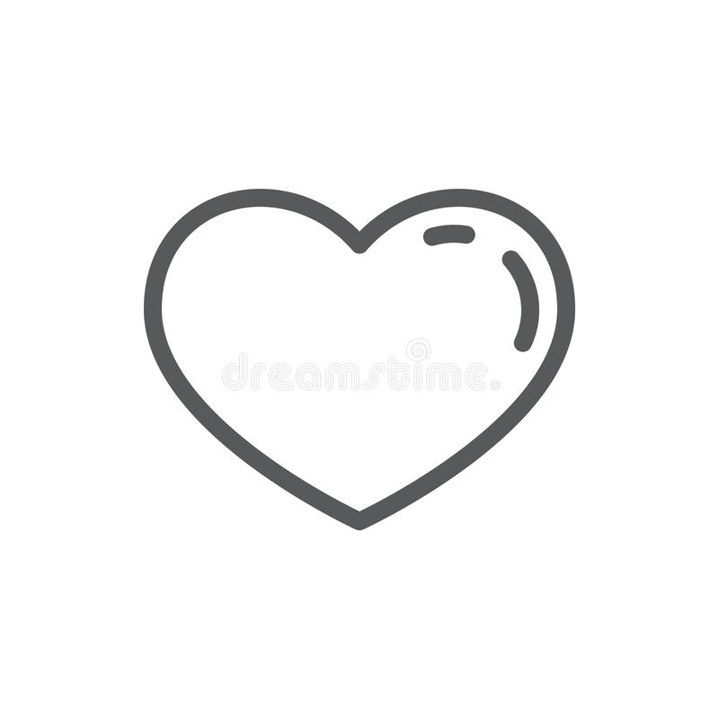 Heart line icon with editable stroke - outline romantic symbol of beautiful heart shape. Heart line icon with editable stroke - outline romantic symbol of royalty free illustration