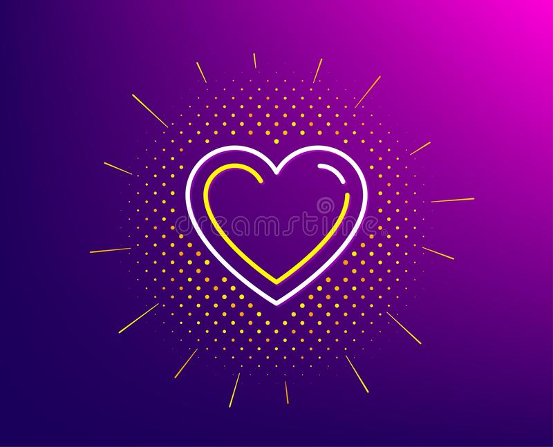Heart line icon. Love sign. Vector. Heart line icon. Halftone pattern. Love sign. Valentines Day sign symbol. Gradient background. Heart line icon. Yellow vector illustration