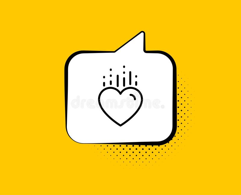 Heart line icon. Love emotion sign. Vector. Heart line icon. Comic speech bubble. Love emotion sign. Valentine day symbol. Yellow background with chat bubble stock illustration