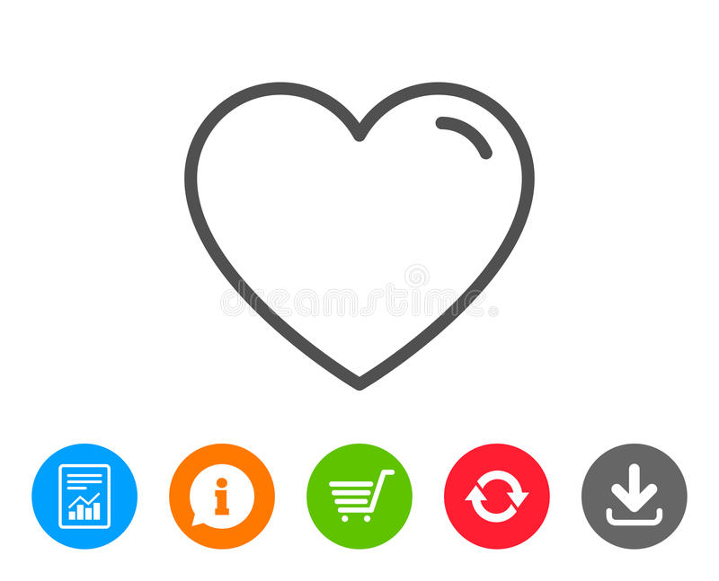 Heart line icon. Love sign. Valentines Day sign symbol. Report, Information and Refresh line signs. Shopping cart and Download icons. Editable stroke. Vector stock illustration