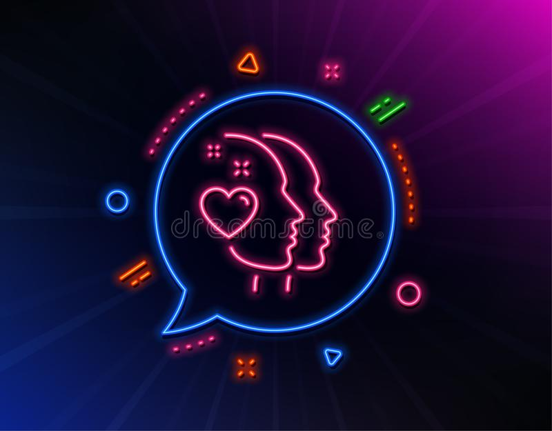Heart line icon. Couple love emotion sign. Vector. Heart line icon. Neon laser lights. Couple love emotion sign. Valentine day symbol. Glow laser speech bubble vector illustration