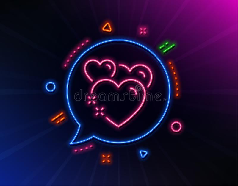 Heart line icon. Love emotion sign. Vector. Heart line icon. Neon laser lights. Love emotion sign. Valentine day symbol. Glow laser speech bubble. Neon lights royalty free illustration