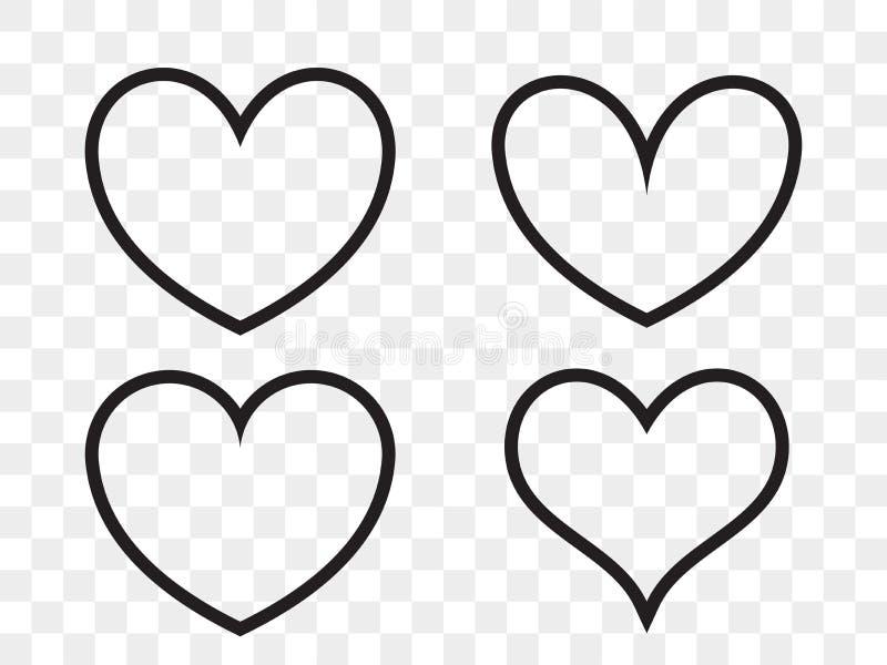 Heart linear vector icon. Valentine love, wedding line heart frames vector illustration