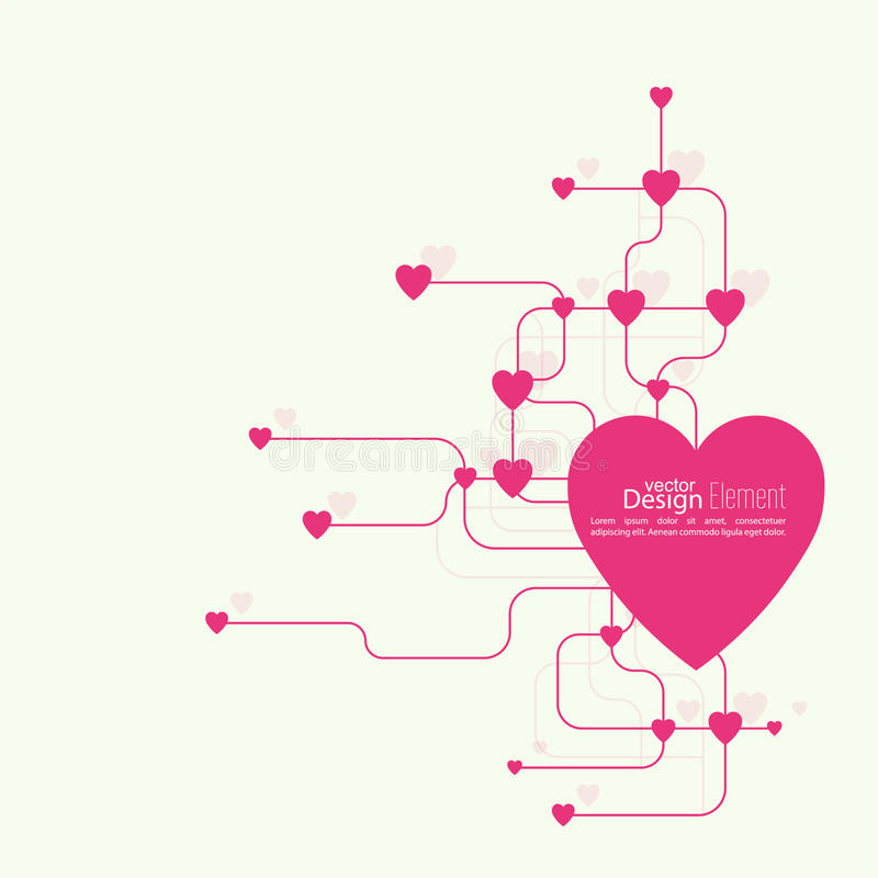 Heart with links. The concept of social connections, help charity, network of health facilities. volunteer assistance. Card for Valentine's Day. symbol donate royalty free illustration