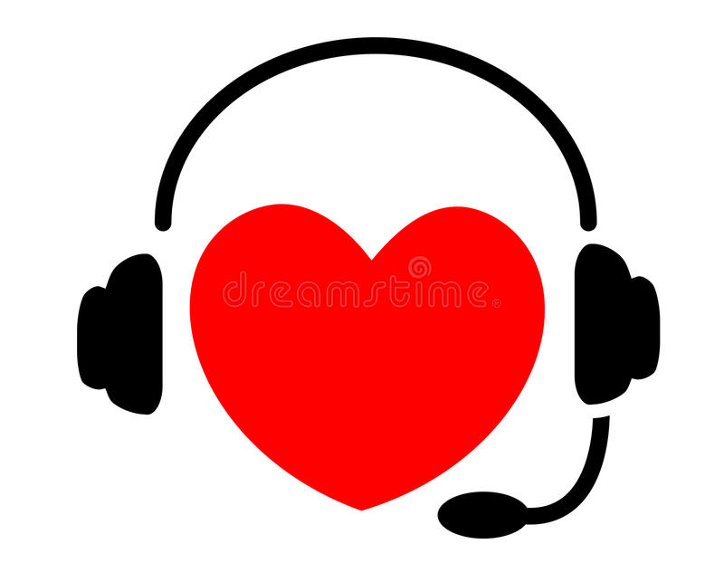 Heart listening to music stock illustration