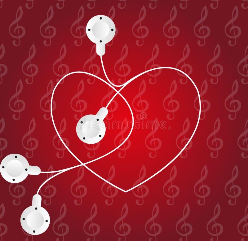 Heart Listening To Music stock illustration