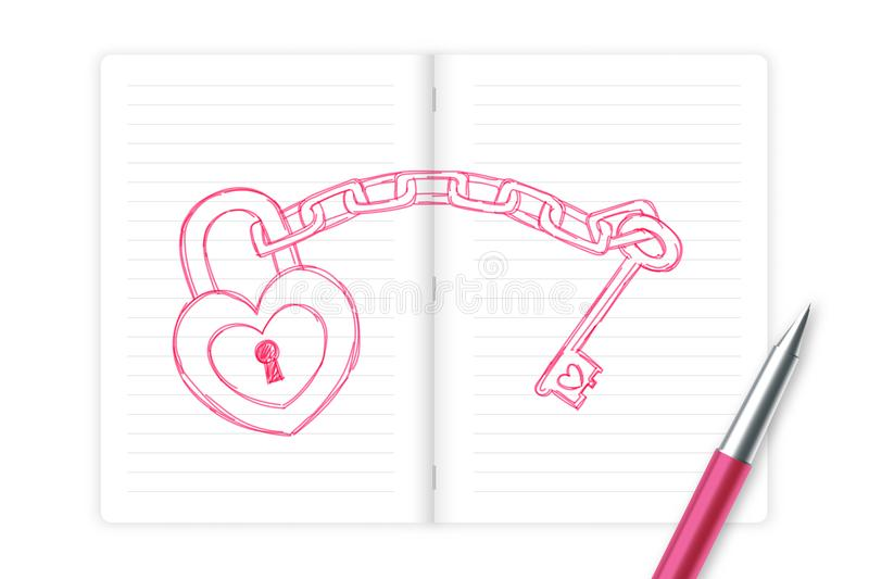 Heart lock and key chain love couple symbol hand drawing by pen sketch pink color with notebook, valentine concept design stock illustration