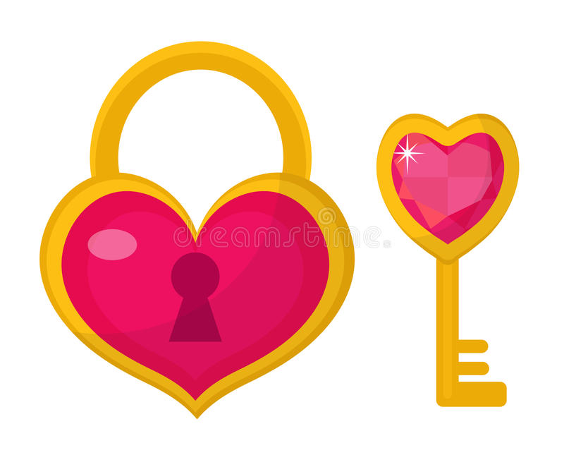 Heart lock and key icon, flat design. Valentines Day, love, dating, wedding concept. vector illustration