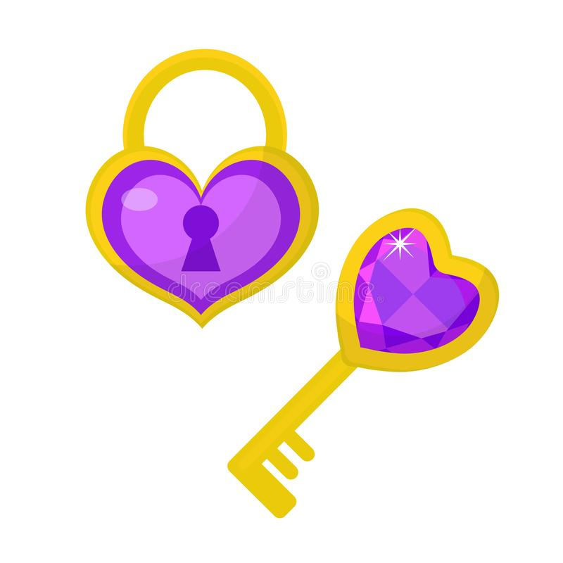 Heart lock and heart key icon, flat design. Valentines Day, love, dating, wedding concept. Isolated on white background stock illustration