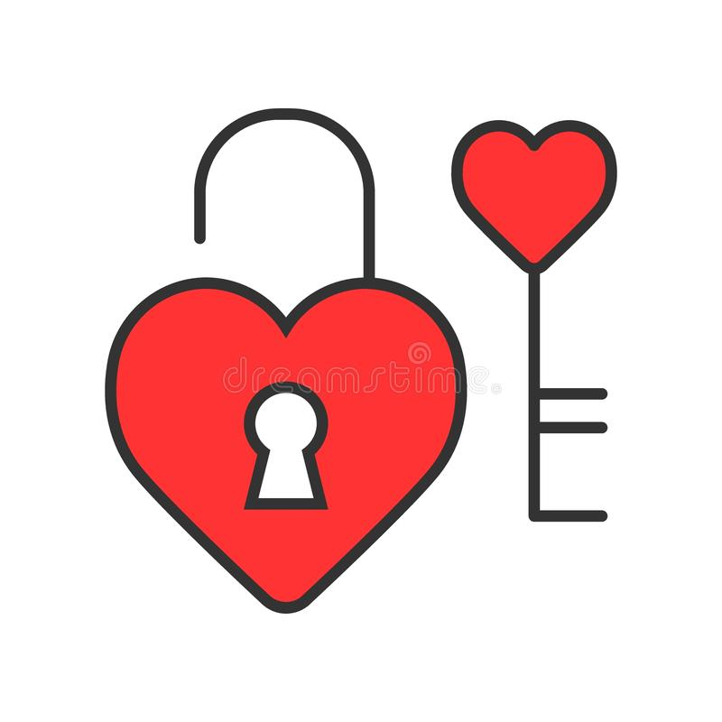 Heart lock with key vector icon. Love and Valentine Day concept vector illustration