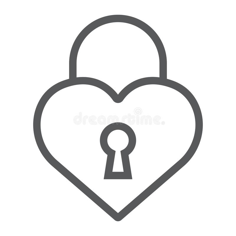Heart lock line icon, love and padlock, love lock sign, vector graphics, a linear pattern on a white background. royalty free illustration