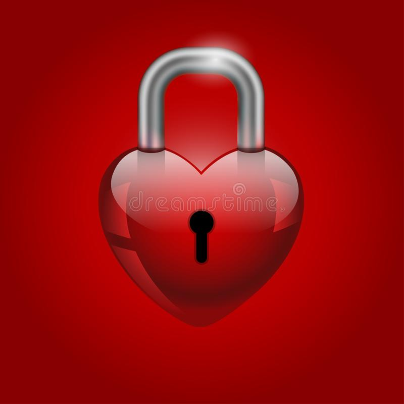Heart lock, valentine`s day icon royalty free illustration