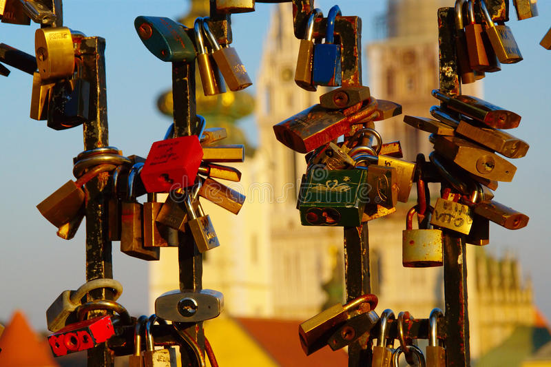 Heart Locks And Cathedral, Zagreb, Croatia stock photography