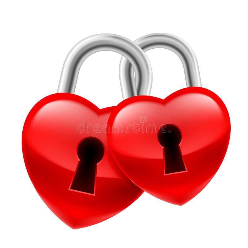 Heart locks stock illustration
