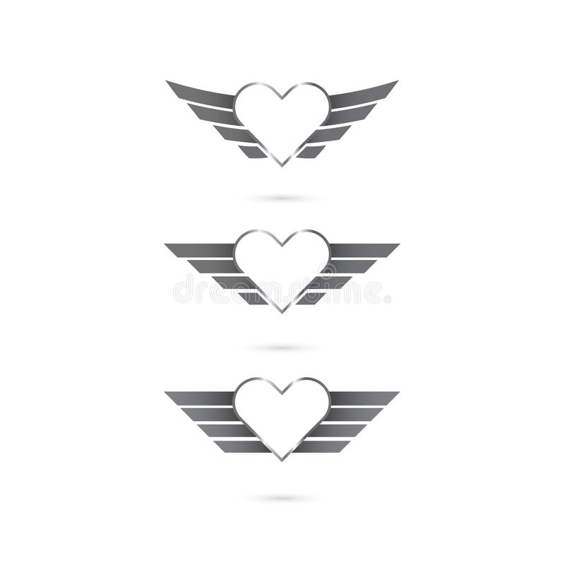 Heart logo with angel wings on background.Vector illustration. stock illustration