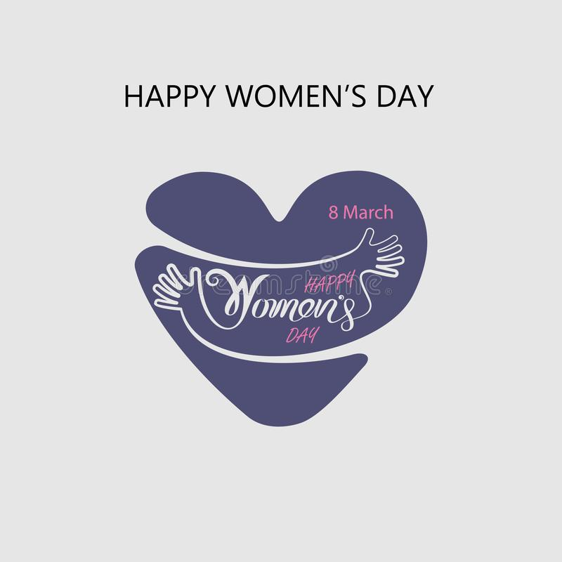 Heart logo and Pink Happy International Women`s Day Typographical Design Elements.Women`s day symbol. Minimalistic design for stock illustration