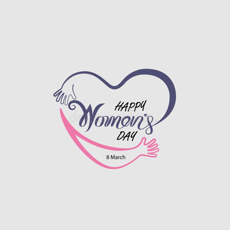 Heart logo and Pink Happy International Women`s Day Typographical Design Elements.Women`s day symbol. Minimalistic design for vector illustration
