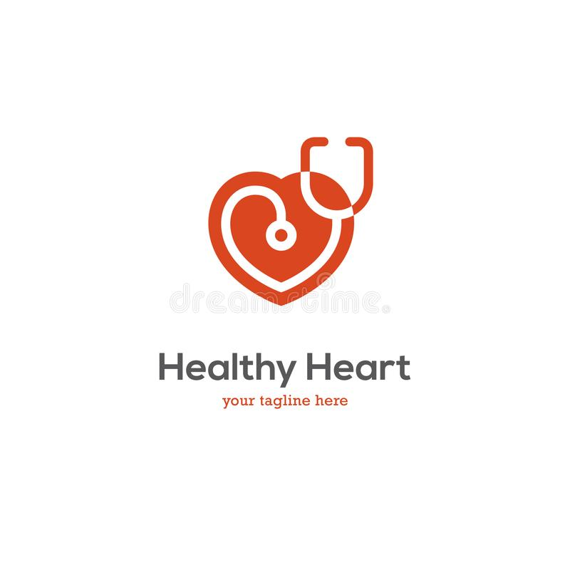 Heart logo with stethoscope. Heart icon with stethoscope. Cardiology health care center, clinic logo vector illustration