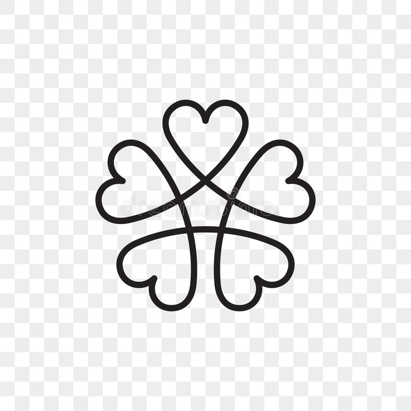 Heart logo vector icon. Isolated modern abstract line black heart flower symbol for cardiology medical center or charity, Valentine love or wedding greeting stock illustration