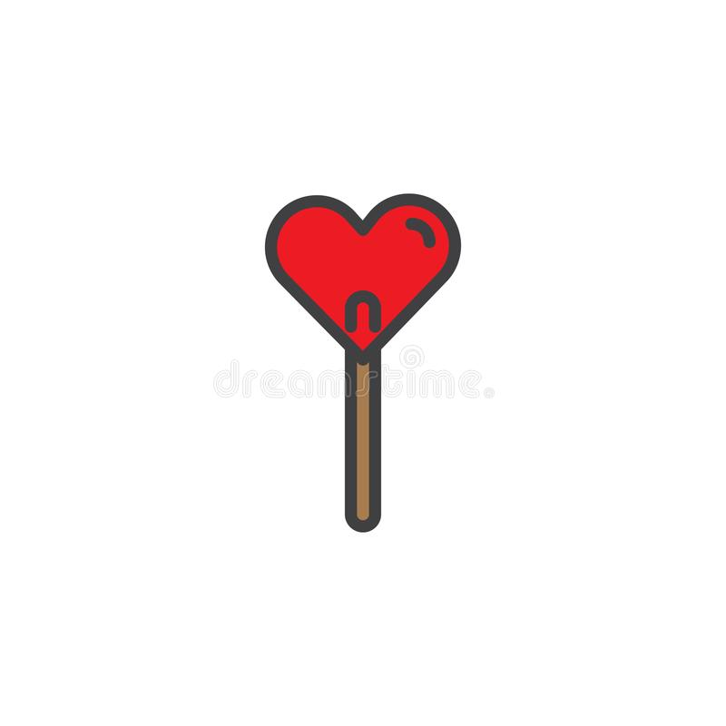 Heart lollipop candy sweet filled outline icon stock illustration