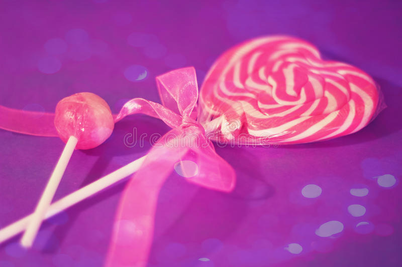 Download Heart Lollipop With Pink Ribbon And Bokeh Overlay Stock Photo - Image: 21803354