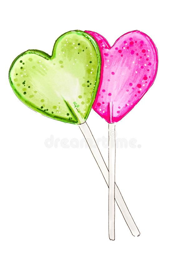 Heart lollipops isolated on white background hand-drawn illustration. Made with markers stock photography
