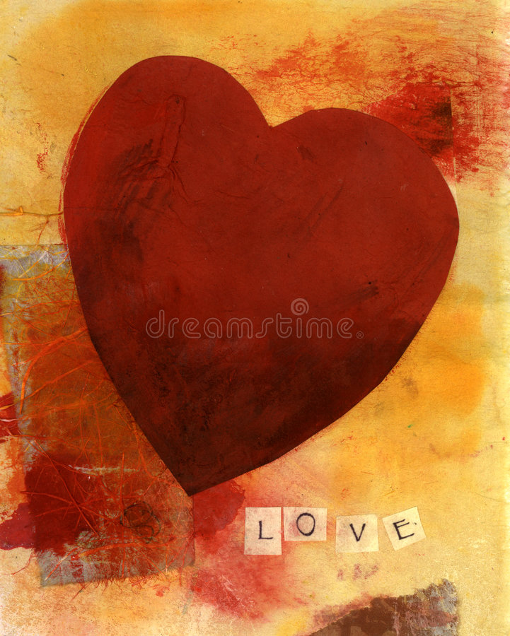 Heart With LOVE 2. Mixed Media collage of a red heart with the word LOVE spelled out