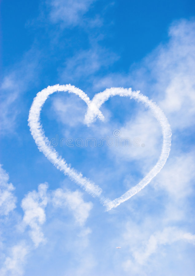 Heart of love. In the sky royalty free stock photography